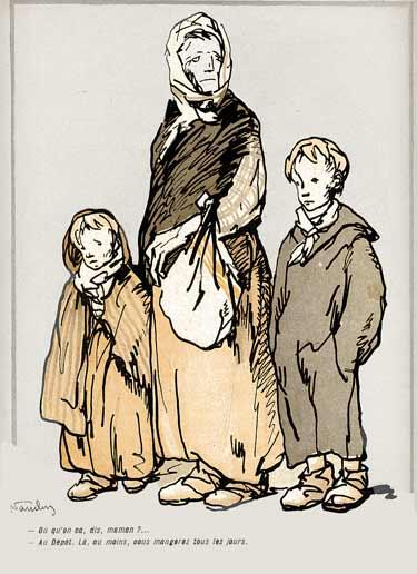 Portrait de 'sans logis' : une femme et ses deux enfants.