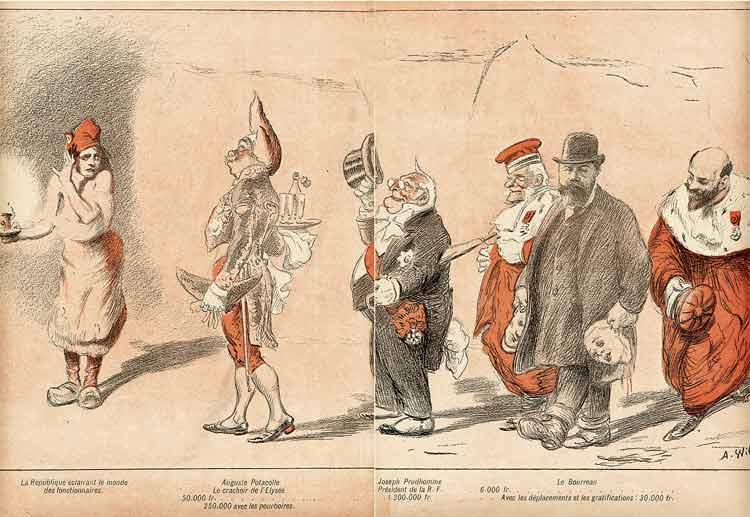 Marianne en paysanne , s'apprete à subir les hauts fonctionnaires de la République: dessin de Willette. Le Présidenr de la R.F. suivi de juges et du bourreau.