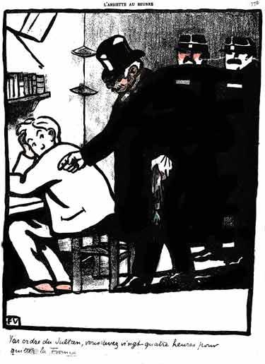 Un personnage officiel entre , avec deux gendarmes dans , la cellule d'un prisonnier.